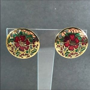 Vintage Closionne red flower gold circle earring